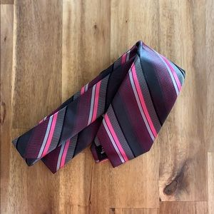 NWT JF J. Ferrer Narrow Pink Striped Necktie